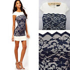 2014 New Summer Stylish Casual Women Lacy Patchwork Short Sleeve Dress 4 Sizes
