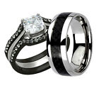 His Her Wedding Ring Set CZ Cubic Zirconia Black Stainless Steel & Titanium ab