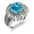 Blue Topaz Ring .925 Sterling Silver w/ 14K Gold Accent Size 6 - 8 Shey Couture