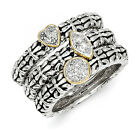 Diamond 3 Stackable Rings Sterling Silver Gold Accent .05 ct Sz 6-8 Shey Couture