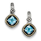 Swiss Blue Topaz Dangle Earrings Sterling Silver & 14K Gold Accent Shey Couture