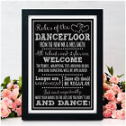 PERSONALISED Chalkboard DANCE FLOOR RULES Wedding Sign Band DJ SIGN