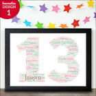 13th Birthday Gifts - Personalised 13 Thirteen Presents - Girl Boy Teenager Gift