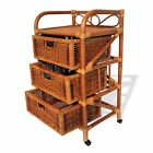 Vitex Handmade Rattan Wicker Drawer Chest Multipurpose Storage Unit w/Wheels