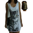 Cat Kitten Cute Print Vest Tank-Top Singlet (Dress T-Shirt) Sizes S M L XL