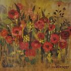 "AR005 Red Flowers I Alan Hopfensberger 18""x18"" framed or unframed print"