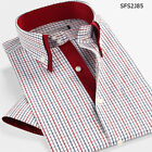 Red mixed color plaids print men's short sleeve cotton shirt red
