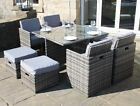 Rattan DELUXE 9 Piece Cube Set Outdoor Garden Furniture Black, Brown or Grey