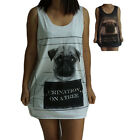Dog Pug Print Cute Vest Tank-Top Singlet (Dress T-Shirt) Sizes S M L XL