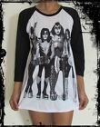 Unisex Kiss Raglan 3/4 Length Sleeve Baseball T-Shirt (Vest Tank Top Jumper)