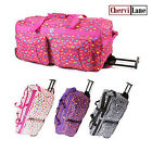 """Suitcase Womens Hearts Wheeled Travel Holdall Flight Cabin Bag 30"""" New"""