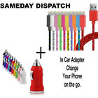 Braided Colour Sync Charger Cable Lead + Car Adapter for iPhone 5 5S 5C 6 6 Plus
