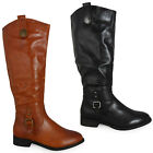 WOMENS LADIES RIDER MID-CALF FLAT FASHION RIDING BIKER LOW HEEL BOOTS SHOES SIZE