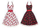 50s Retro Vintage Cherry Print Halterneck Party Swing Rockabilly Dress New 8 -18