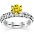 0.5 Carat Yellow Diamond Anniversary Bridal Solitaire Ring Band 14K White Gold