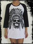 Unisex Indian Skull Raglan 3/4 Length Sleeve Baseball T-Shirt (Vest Tank Jumper)