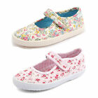 Girls Startrite Posy Multi Floral Or Pink Floral Riptape Strap Canvas Pumps