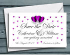 SAVE THE DATE MAGNETS PERSONALISED Purple Hearts Wedding Magnets with Envelopes