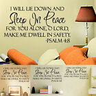 Sleep In Peace Bible Verse Decor vinyl wall sticker decal quote Inspiration Art