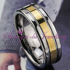 TUNGSTEN CARBIDE GOLD LINE GF 8MM Mens WEDDING BAND RING JS030 JEWELLERY NEW