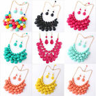 Fashion Multilayer Teardrop Bead Bubble Bib Statement Necklace & Earrings Set