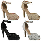 NEW WOMENS LADIES MESH PLATFORM PEEPTOE HIGH STILETTO HEEL SHOES SANDALS SIZE