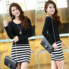 Fashion Women Casual Stripe Long Sleeve Crew Neck Bodycon Party Short Mini Dress