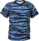 Mens Blue Tiger Stripe Camouflage Tactical Military Short Sleeve T-Shirt