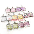 Natural Square Crystal Quartz Healing Chakra Gemstone Beads Pendant For Necklace