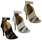 NEW WOMENS LADIES ANKLE STRAP PEEP TOE HIGH STILETTO HEEL PARTY SHOE SANDAL SIZE