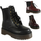 WOMENS LADIES ANKLE LACE UP MID HEEL PATENT COMBAT ARMY PUNK GOTH BOOT SHOE SIZE