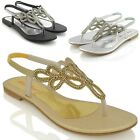 LADIES WOMENS FLAT SLINGBACK DIAMANTE SPARKLY SUMMER HOLIDAY PARTY SANDALS SHOE