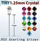2pcs 22G~1.25mm Cubic Zirconia Prong Set .925 Sterling Silver Straight Nose Stud