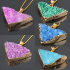 Natural Druzy Crystal Coloring Gemstone Stone Triangle Pendant Jewelry