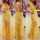 Women Lady #S Sexy Party Formal Evening Ball Prom Lace Dresses Wedding Gown New