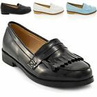 WOMENS BLACK LOAFERS FRINGE FLAT LADIES OFFICE WORK SCHOOL CASUAL PUMPS SHOES