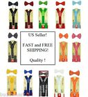 Toddler Kids Boys Girls Baby Suspenders and Bow Tie Matching Set USA Seller
