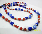 Multi Coloured Bright Glass Beads Indian Handmade Necklace with Silver Accents