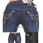 D-FUZ  WOMEN FADED BLACK BOOT CUT JEANS STRETCHY  RHINESTONE POCKETS SIZE 1-2