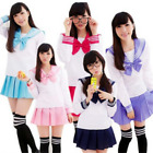 Women Girl JK Long Sleeve Sailor School Uniform Dress Cosplay Costume 4 Colors