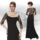 Elegant Sexy Black Party Long Sleeved Evening Formal Prom Gown Dress 08311