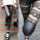 Sexy Women's Punk Lace Faux Leather Splice Skinny Stretchy Pants Pencil Leggings