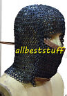 Round Riveted Solid Ring Chain Mail Hood Short Coif with Leather Ventail