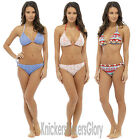 Halter Padded Bikini Top and Bottoms Set Crochet/Aztec NEW Size 10,12,14,16,18