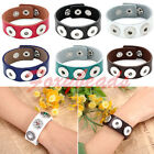 Chic Real Leather Charms Snap Charm 3 Buckle Bracelet Fit Button Beads DIY Gift