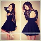 Women Long Sleeve Lace Slim Bodycon Open Back Party Cocktail Evening Mini Dress
