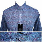 Relco Mens Blue PAISLEY Print Long Sleeve Shirt NEW Mod Retro Vintage Skin 60s