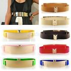 Gold Metal Metallic Bling Mirror Plate Wide Waist Stretch Elastic Sexy Belt Band
