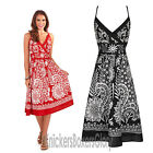 Ladies Sunflower Print Cross Over Cotton Summer Beach Sun Dress Size 8 - 22
