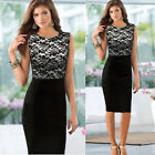 Women Sexy Slim Lace Sleeveless Bodycon Cocktail Party Pencil Dress Applied